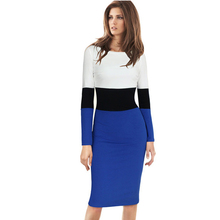 Women Dress Elegant Colorblock Back Zipper Wear to Work Business Casual Office Party Sheath Pencil Bodycon Dress plus size 1350(China (Mainland))
