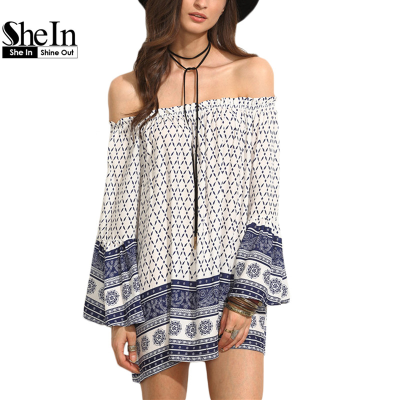 SheIn Ladies Summer Vintage Dresses Womens Multicolor Tribal Print Off The Shoulder Long Sleeve Ruffle Shift Dress(China (Mainland))