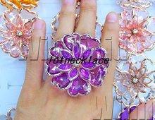 Free shipping Wholesale Mix lots 20 OVERSIZE flower rhinestone Lucite Resin Golden Tone Metal Lady RINGS fashion Costume JEWELRY(China (Mainland))