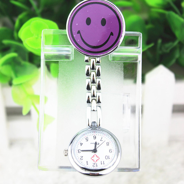 2015 New 7 Color Relax Style Nurse Watch With Smile Brooch Pendant Hanging Doctor Pocket Watches Stainless Steel Reloj Mujer(China (Mainland))