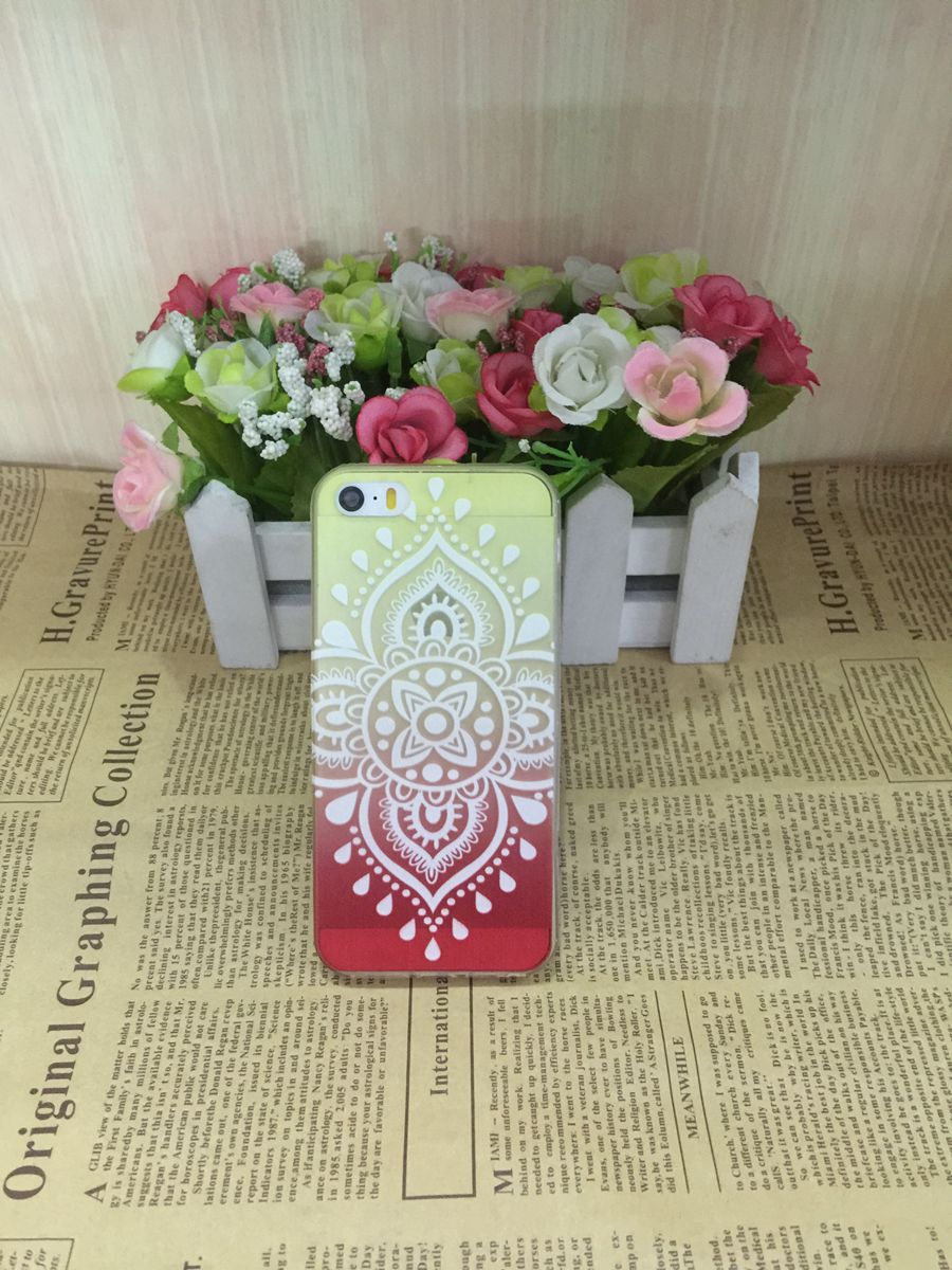 2015 New Gradual change 4S case 3.5 phone shell protective sleeve silicone transparent Ultra-thin TPU Chinese knot phone sets(China (Mainland))