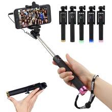 Selfie Stick clip Extendable wired remote Shutter With Button Pole Mount Portable Monopod Handheld Self Portrait Sticks