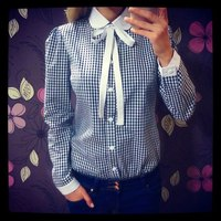 2015 new fashion women peter pan collar bow decoration plaid shirts full sleeve 2color blouses
