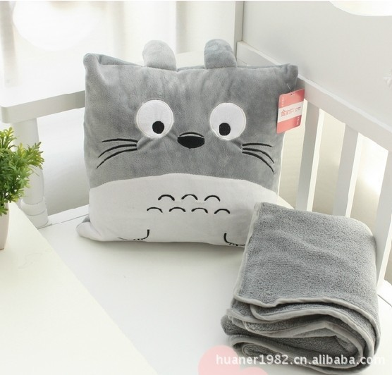 Plush Animal Pillow Blanket : Round Totoro doll blanket 90 * 100cm pillow blanket cute plush toys ,Cushion + blanket can be ...