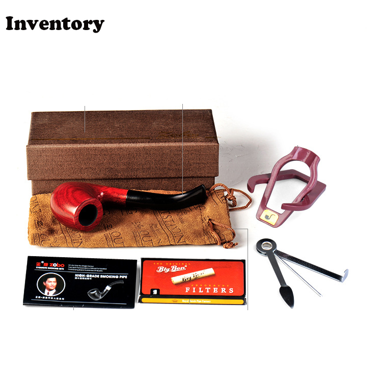 ZOBO high quality red sandalwood tobacco pipe Collectibles business gifts Smoking Pipes Ben Type wooden pipe