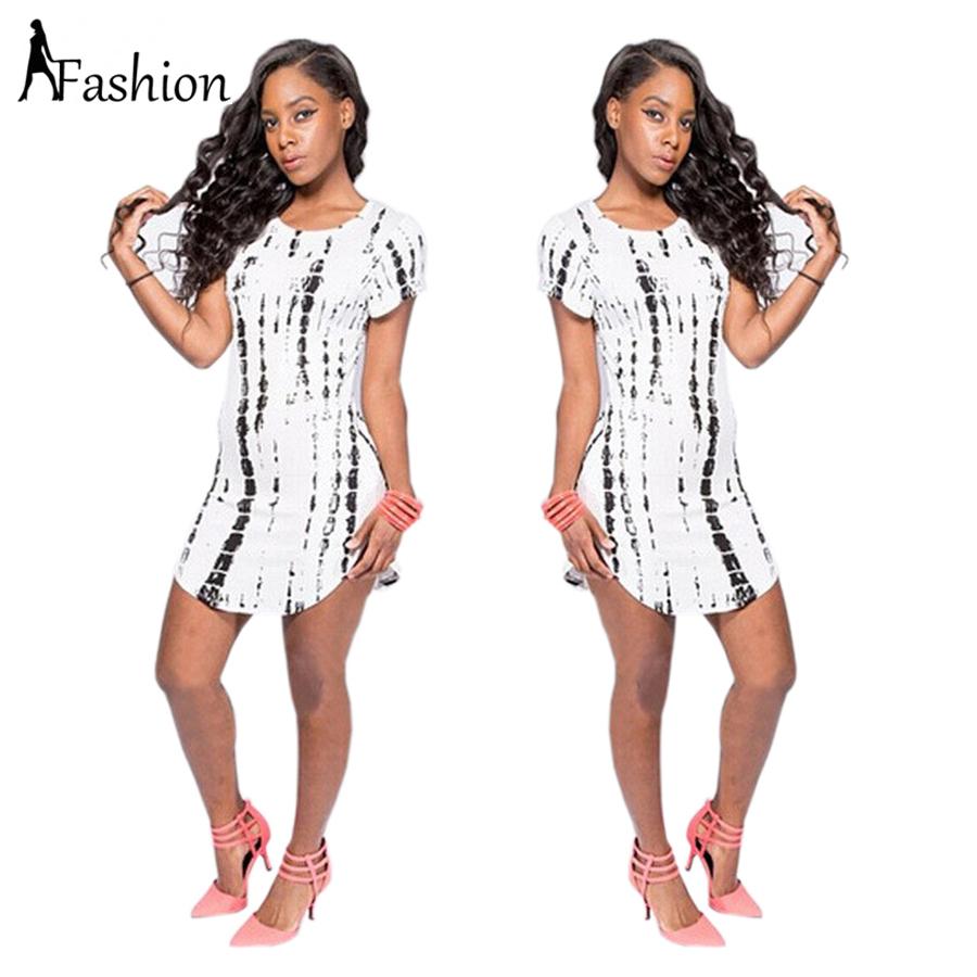 Women summer Short beach t shirt dress 2015 Fashion Cotton Print white sexy club bandage party dresses Plus size women clothing(China (Mainland))