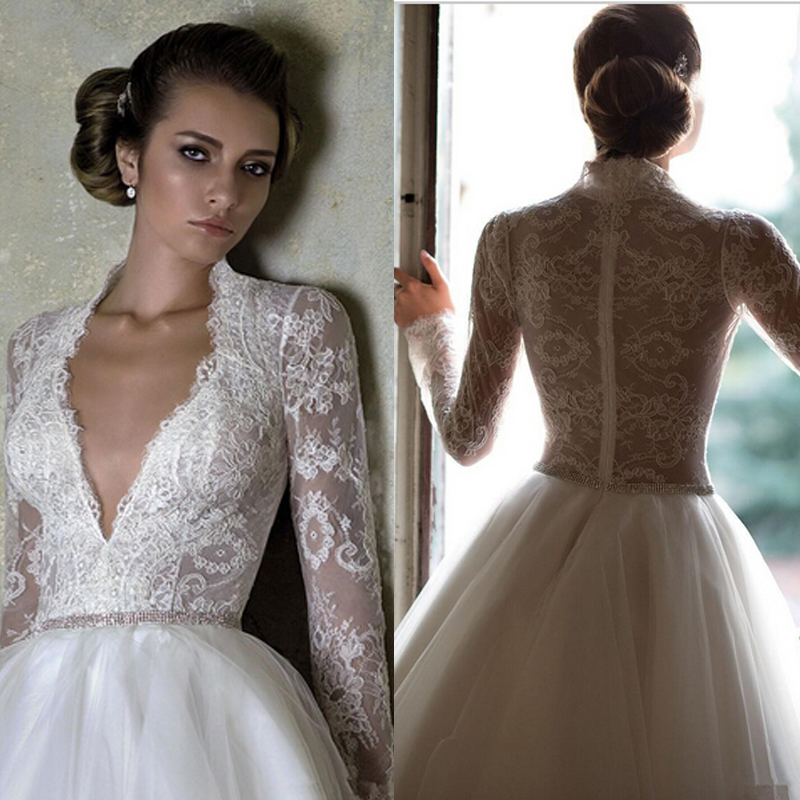 Hot Sale Real Picture Short Wedding Dresses 2016 Sexy V Neck Transparent Lace Long Sleeve Knee