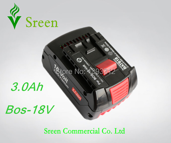 New Spare 18V Rechargeable Lithium Ion 3.0Ah Replacement Power Tool Battery Packs for Bosch BAT609 BAT609G BAT618(China (Mainland))
