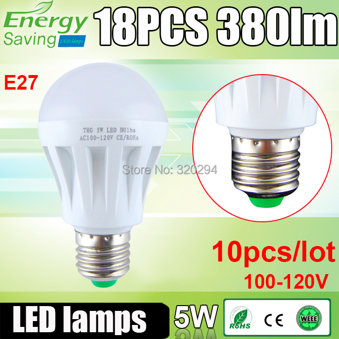 1 5W E27 100-120V 380LM 18 SMD 2835 Bulbs Lamps High Power Lower Consumption Energy Saving Equivalent Halogen 50W - Excellent Etop Shopping store