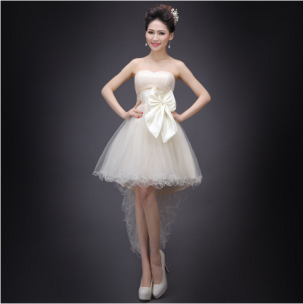 fashionable beautiful short front long back champagne tulle dress women for cocktail dresses buy direct from china H3008(China (Mainland))