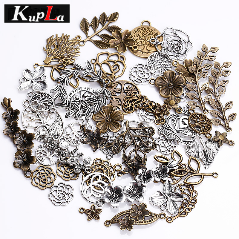Kupla Vintage Metal Mixed Tree Charms Fashion Retro Mixed Leaf Pendant Diy Handmade Charms Jewelry Making 100pcs/lot