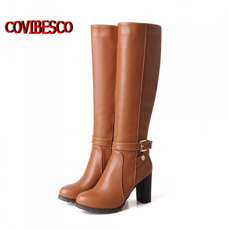 2015 Women winter fashion pu leather high heels knee high buckle classic design snow boots for woman motorcycle boots long shoes(China (Mainland))