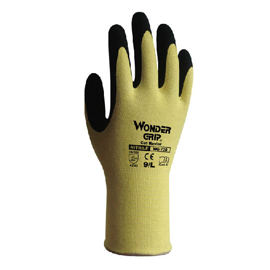 Cutting Resistant Kevlar Gloves Durable Safety Work Gloves Nitrile Coating Heat Resistant Light Weight 250mm WG730(China (Mainland))