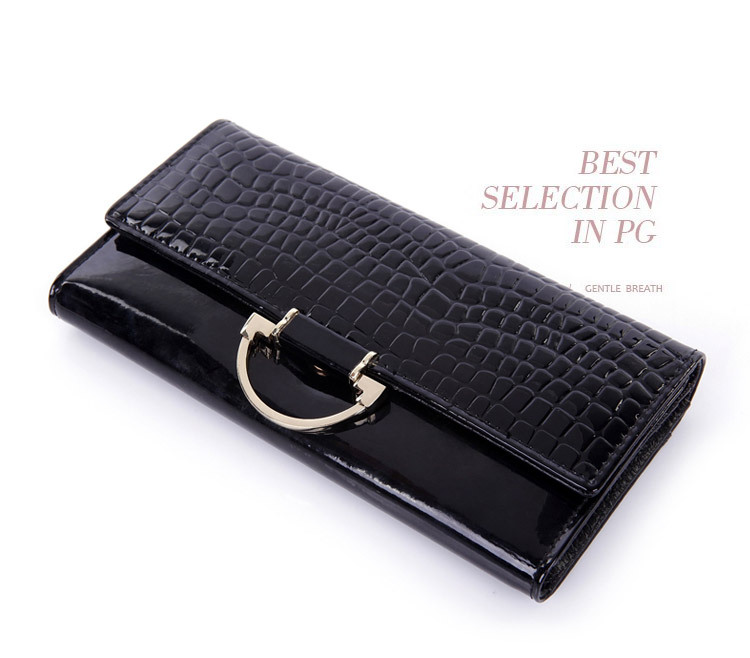 2014 NEW ARRIVAL Free Shipping women fashion patent leather purse crocodile texture genuine leather cllutch wallet gift package<br><br>Aliexpress
