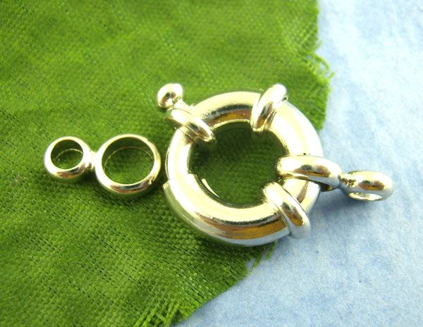 10PCs Silver Tone Spring Ring Clasp 15mm Finding Mr.Jewelry(China (Mainland))