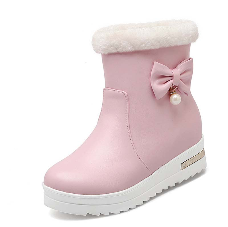 Bowtie Girl Boots For Women New Big Size42 Round Toe Low Winter Boots Black White Pink Soft Leather Wedges Ankle Boots<br><br>Aliexpress