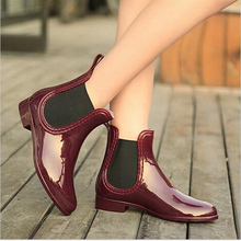 Rubber Boots 2016 Waterproof Trendy Jelly Women Ankle Rain Boot Elastic Band Solid Color Rainy Shoes Women 3 colors size 35 - 40(China (Mainland))