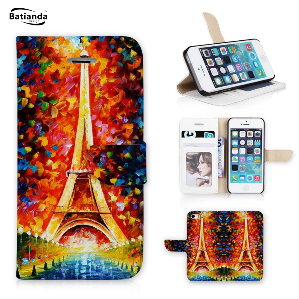 Luxury PU Leather Case for Apple iPhone 6S plus 6 plus Case Wallet Flip Phone Bag Case Cover + Screen Film Eiffel Tower(China (Mainland))