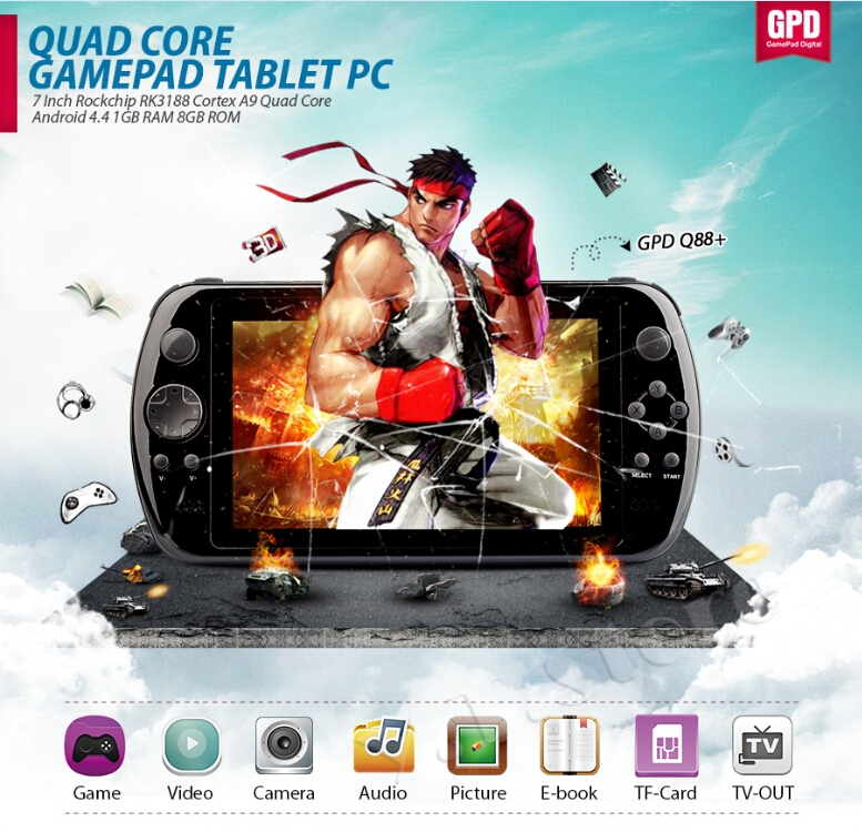 "7"" Quad Core Game Console Player tablet pc GPD Q88+ gamepad Android 4.4.4 1G RAM 8GB 1024*600 Cortex-A9 1.6GHz MEDIA PLAYER(China (Mainland))"