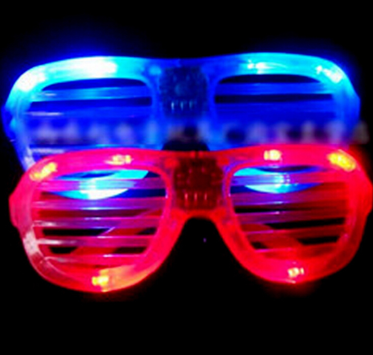50pcs/lot Novelty funny toys 2015 new shutter fashion flash LED glasses glowing toys decorative for halloween decoration(China (Mainland))