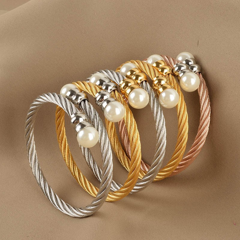 New Women Cable Bangles Gold 316l Stainless Steel Bracelet Fashion Pearl Jewelry(China (Mainland))
