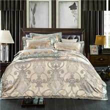 New Luxury Silk Bedding Set Embroidery Bed Linens Tencel Satin Bed Sheet Set Jacquard Bedclothes Full/Queen/King Size Bed cover(China (Mainland))