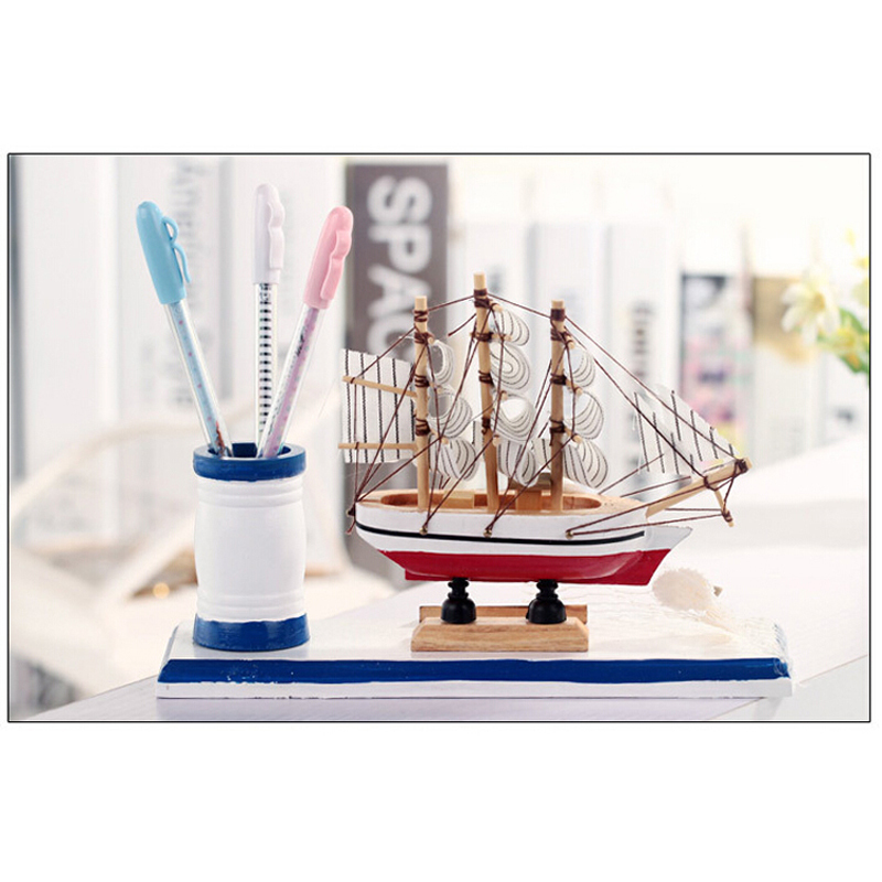 15cm Wooden Sailing Boat Wood Clipper Pen Container Ship Model Collectible Sailboat Toy Crafts Christmas Gifts Home Decoration(China (Mainland))