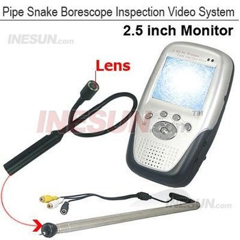 Portable Pipe Snake Borescope Inspection Camera System 2.5LCD DVR