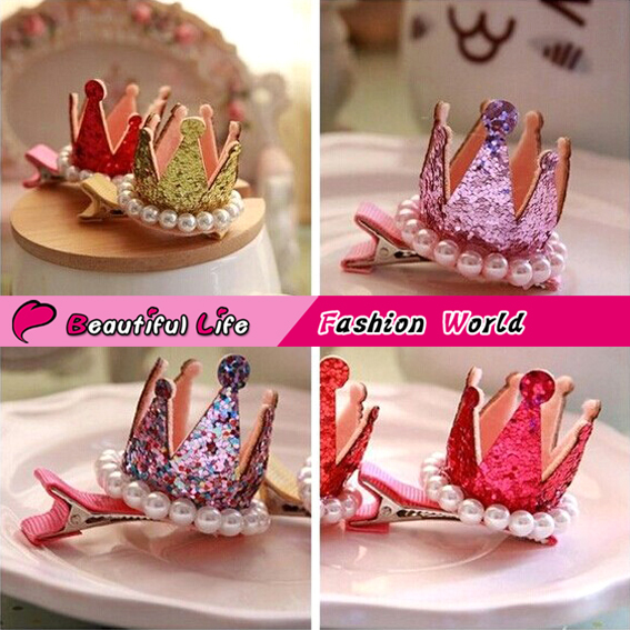 2015 Hot Korean Fabric Solid Mix Color Crown Baby Hair Clips For Girls Kids Party Supplies Tiaras And Children Hair Accessories(China (Mainland))