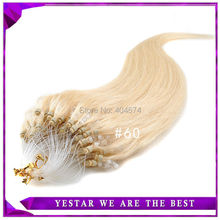 18,20 22,24 inch Micro Bead Hair #60 Color 0.5g/strands Natural Silky Straight Micro Loop Ring/Beads Hair Extensions(China (Mainland))