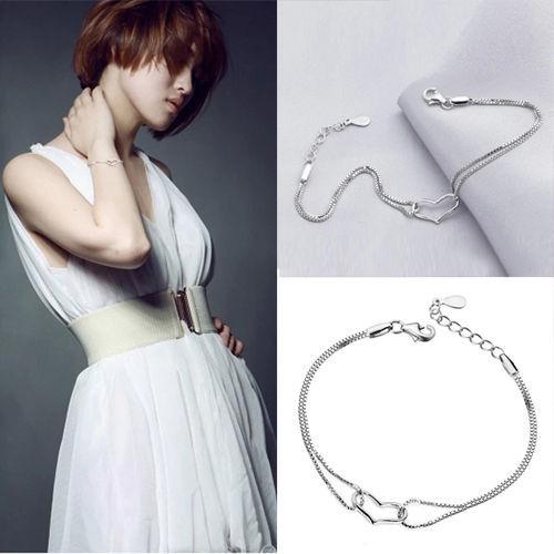 2015 Women Girls Lady Silver Plated Alloy Heart Love Bracelet Chain Jewelry Gift - ^_^ Enjoy store