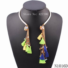 2016 fashionable new design necklaces green chain cotton tassel necklace pendant chunky choker necklace for christmas gifts(China (Mainland))
