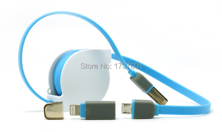 2015 Newest Telescopic line Micro usb and for apple 8pin USB 2 in 1 Sync Data Charger Cable for iPhone 6 ipad For Samsung HTC(China (Mainland))