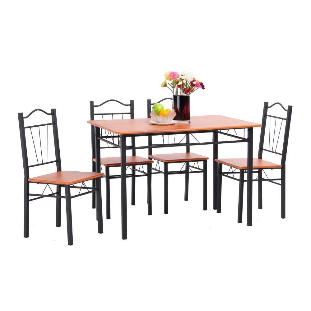 wood grain wooden top metal square table and chairs breafast dining