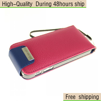 New Deluxe Litchi Flip Leather Credit Card Case Cover Skin for iPhone 5 5G 5th Free Shipping DHLEMS HKPAM CPAM HDS-5