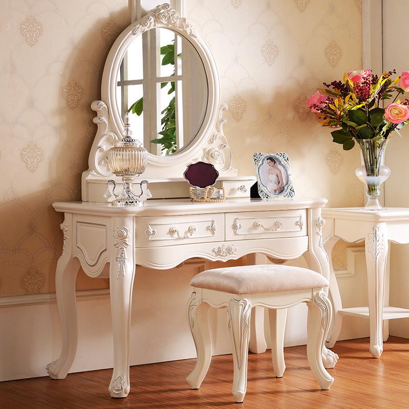 Solid wood dresser bedroom dresser french simple ivory - Tocadores vintage ...