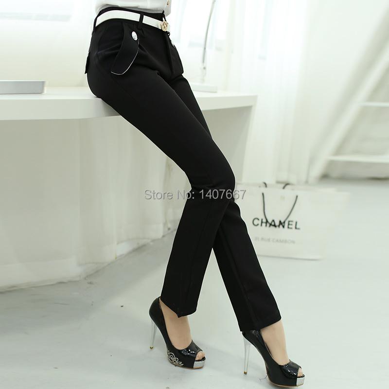 Unique Formal Pants Women Suit Pants Slim Straight Western Style Trousers