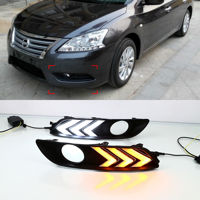 Car Styling Daytime Running Lights White Turn To Yellow Fog Lamp Cover ABS+LED DRL For Nissan Sentra 2014-2015 Car-Styling<br><br>Aliexpress