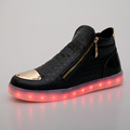 2017 New Men Shoes Fashion Luminous Shoes High Top LED Shoes USB Charging Colorful Shoes Casual