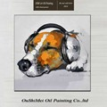 Hand Painted Modern Funny Animal Wall Artwork Kids Christmas Unique Gift Handmade Dog Listen to Music