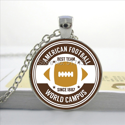 2016 New American Football Necklace World Campus Pendant Rugby Jewelry Necklace Glass Dome Pendant(China (Mainland))