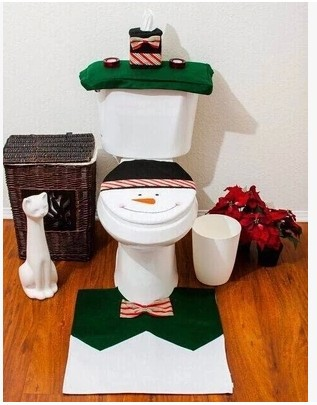 Christmas supplies Christmas decoration Snowman toilet set cushion the tank cover paper towel set Christmas products(China (Mainland))