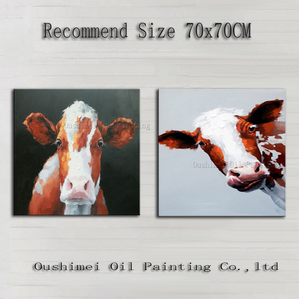 Top Skill Hand Painted Animal Cow Series Oil Painting on Canvas Handmade Funny Bull Home Wall Decor Unique Gift Canvas Pictures(China (Mainland))
