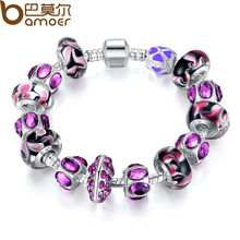 NEW Arrival Fashion European Style 925 Silver Charm Bracelet Purple Murano Glass Beads Compatible with Pandora Jewelry P1319(China (Mainland))