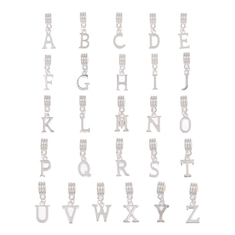 Popular metal alphabet beads buy cheap metal alphabet for Round metal letter beads