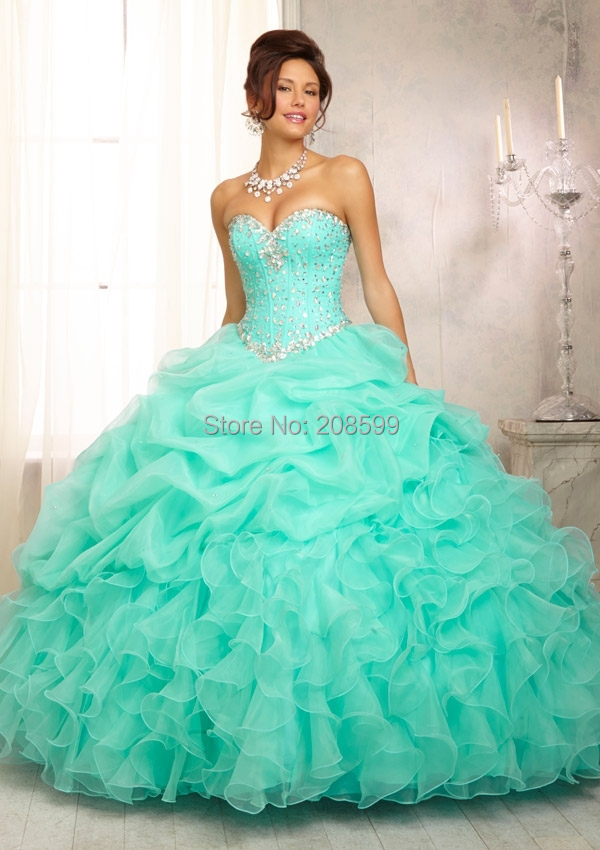 In Stock Fashion New 2015 Ball Gown Organza With Beads Quinceanera dress vestido debutante 15 With AB Stones Send Free Gift(China (Mainland))