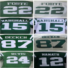 ens 15 Brandon Marshall 12 Joe Nama 22 Matt Forte 24 Darrelle Revis 87 Eric Decker jersey, jersey,White,Green,Size M-XXXL(China (Mainland))