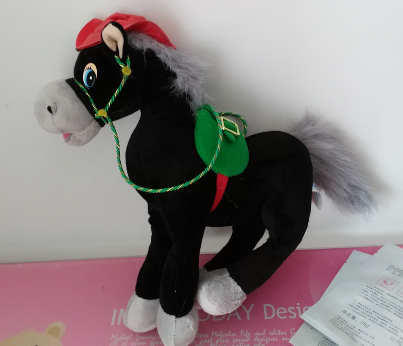 Russian language singing song plush black horse soft doll,electronic toys for children, birthday Christmas gift(China (Mainland))