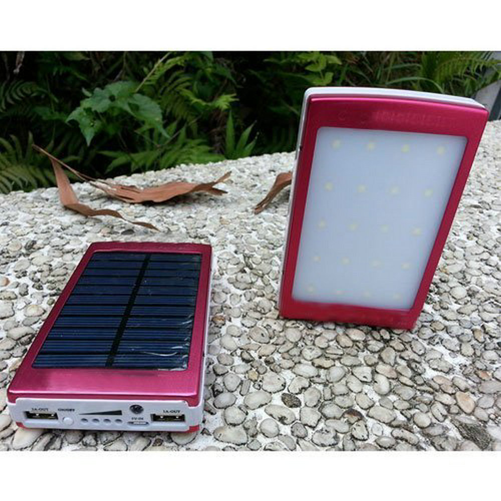 Red 10000mAh Solar Charger Power Bank with 20 LED Camping Lights Solar Panel Power Charging For iPhone 6S Plus Samsung Phones(China (Mainland))