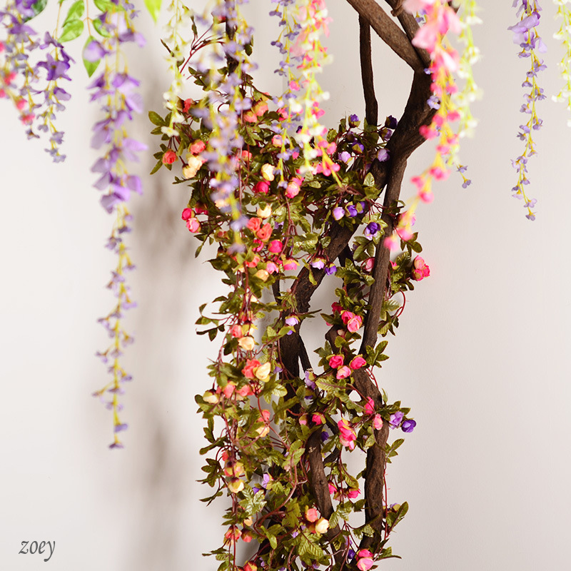 220cm 42 heads Fake Silk Roses Ivy Vine Artificial Flowers with Green Leaves For Home Wedding Decoration Hanging Garland Decor(China (Mainland))